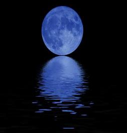 blue moonlight reflected in water